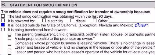 Nevada And Mexico I Believe That S The Reason So Many Clerks Refuse To Accept Miscellaneous Statement Of Facts Give Smog Exemption